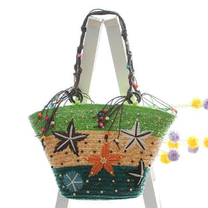 Bohemia Starfish Embroidery Seaside Holiday Beach Straw Shoulder Bag