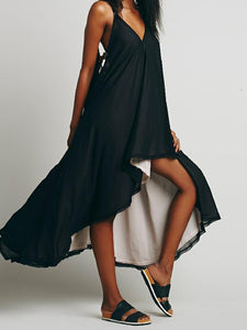 2018 Black Spaghetti Strap Backless Irregular Maxi Dress