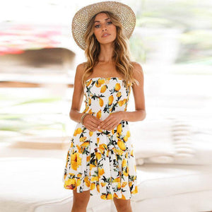 Print Off Shoulder Beach Mini Dress