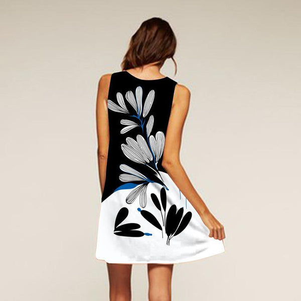 Printed Round Neck Sleeveless Petal Mini Dress