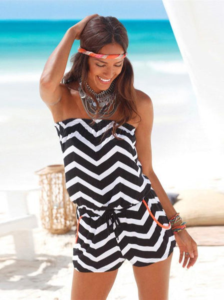 Off Shoulder Beach Bohemia Rompers