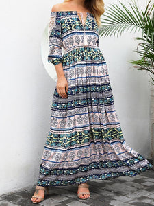 Print Off Shoulder Beach Bohemia Maxi Long Dress