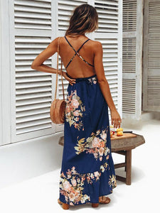 Flower Print Spaghetti Strap Backless Beach Maxi Dress