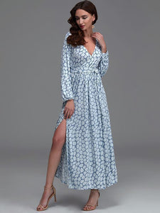 Print V Neck Belted Split Beach Maxi Dress