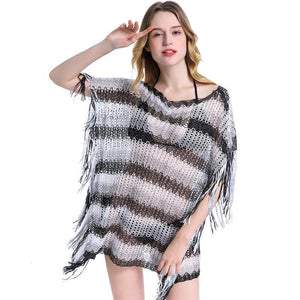 Knit Hollow Tassel Beach Swimwear Bikini Cover Up