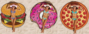 Hot Sale Donut digital printing round beach towel Mat