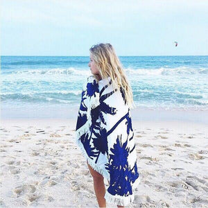 Hot Sale Tree printed fringed beach towel sun shawl Variety scarf yoga cushion Mat