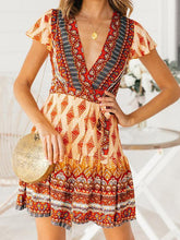 Load image into Gallery viewer, Bohemian Floral Pinrt Deep V-neck Summer Mini Dress