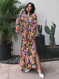 Floral Long Flared Sleeve Loose Maxi Dress