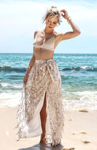 Sexy Sequin Side Split High Waist Beach Skirt