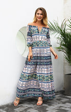 Load image into Gallery viewer, Print Off Shoulder Beach Bohemia Maxi Long Dress