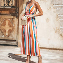 Load image into Gallery viewer, Colorful Stripe Spaghetti Strap Deep V Neck Maxi Dress