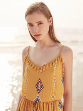 Load image into Gallery viewer, Print Spaghetti Strap Tassel Bohemia Rompers