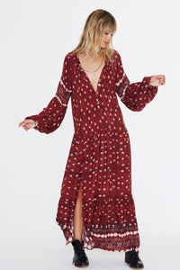 Red Chiffon V Neck Long Sleeve Side Split Maxi Dress