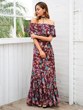 Load image into Gallery viewer, Floral Print Off Shoulder Beach Maxi Dress