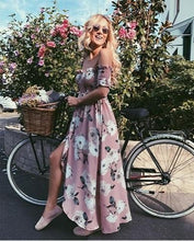 Load image into Gallery viewer, Flower Print Off Shoulder Split Dress