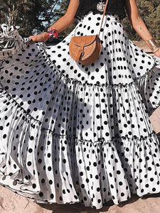Polka Dot High Waist Loose Boho Maxi Dress