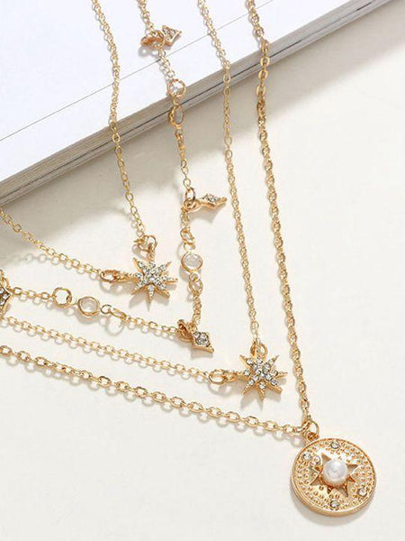 Fashion Necklace Star-meter Inlaid Star Octagon Joker Multilayer Diamond Multiple Independent Packaging Plated Chain Pendant Necklace