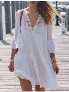 Hook Flower Loose Large Size Bikini Cover-Up Mini Dress