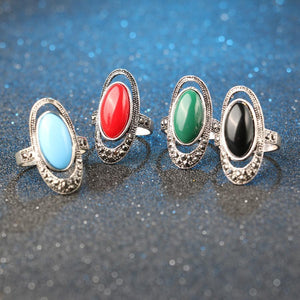 Bohemian Alloy Inlaid Stone Vintage Ring