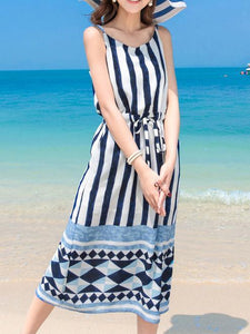Black Stripes Maxi Beach Bohemia Dress