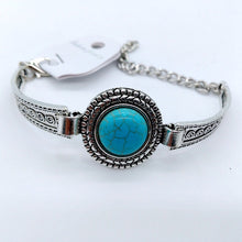Load image into Gallery viewer, Boho Round turquoise arrow flower retro carved bracelet jewelry