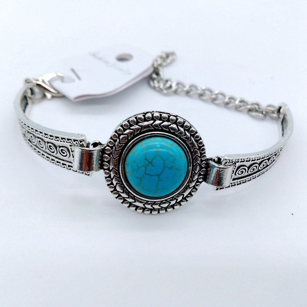 Boho Round turquoise arrow flower retro carved bracelet jewelry