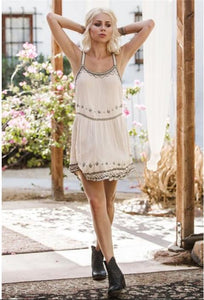 Bohemian Flower Embroidered Lace Spaghetti Strap Mini Dress