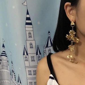 Exaggerated Dangle Earrings Leaves Shaped Drop Long Earrings