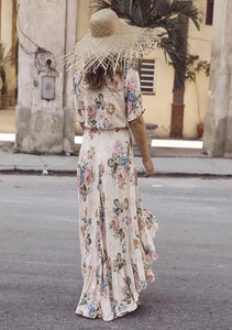 Chiffon Floral Print Short Sleeve Irregular Maxi Dress