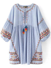 Load image into Gallery viewer, Embroidered Puff Sleeves Mini Dress