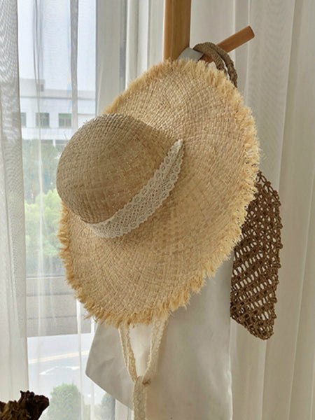 Handmade Hat Women Summer Small Fresh Fold Woven Straw Hat Beach Big Brim Sunscreen Sun Hat