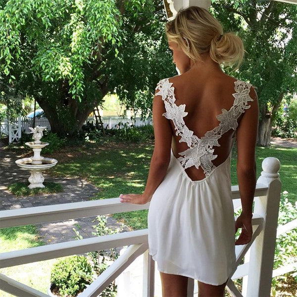 Sexy White V Neck Beach Mini Dress