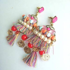 Bohemian Ethnic Style Colored Tassels Earrings