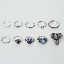 Load image into Gallery viewer, Bohemian Elephants Ring Retro Stone 10pcs Rings Sets For Women