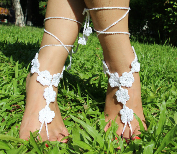 Handmade cotton thread flower anklet bracelet - 4