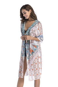 4 pattern Beach bikini outer cover chiffon print middle sleeve shirt boho style