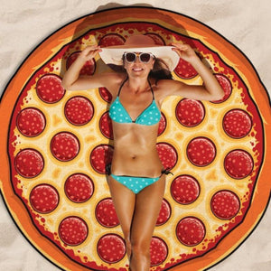Hot Sale Circular Pizza 3D printing outdoor picnic mats Sun Beach Met
