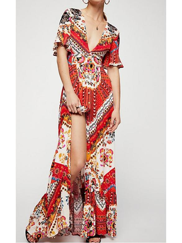 New Printed V Neck Short Sleeve High Split Maxi Dress