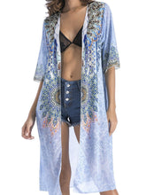 Load image into Gallery viewer, 4 pattern Beach bikini outer cover chiffon print middle sleeve shirt boho style