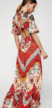 Load image into Gallery viewer, New Printed V Neck Short Sleeve High Split Maxi Dress