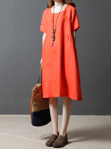 Linen Cotton Solid Color Short Sleeve Loose Dress