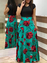 Load image into Gallery viewer, 2018 Floral Short Sleeve High Waist Maxi Dress