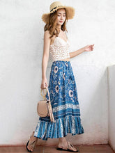Load image into Gallery viewer, Blue Print High Waist Bohemia Skirt
