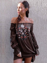 Load image into Gallery viewer, Off Shoulder Long Sleeve Bohemia Mini Dress