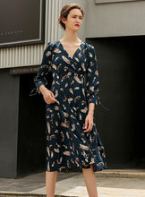 Load image into Gallery viewer, Printed V Neck Long Sleeve Beach Maxi Dress