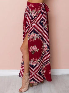 Printed Off Shoulder Tops High Waist Side Split Maxi Skirt Two Pieces Set
