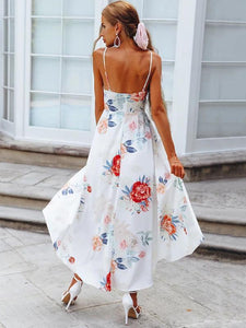 2018 Flower Spaghetti Strap Irregular Dress