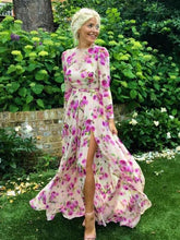 Load image into Gallery viewer, Floral Bohemia Long Sleeve Split Maxi Dress