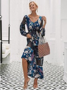 Floral Print V Neck Long Sleeve Beach Maxi Dress